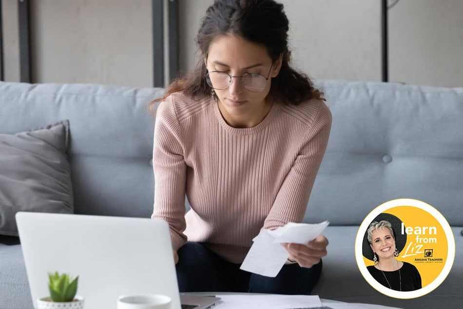 lady paying bills on laptop with overlay of Learn from Liz