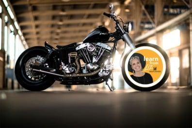 motorcycle in parking garage