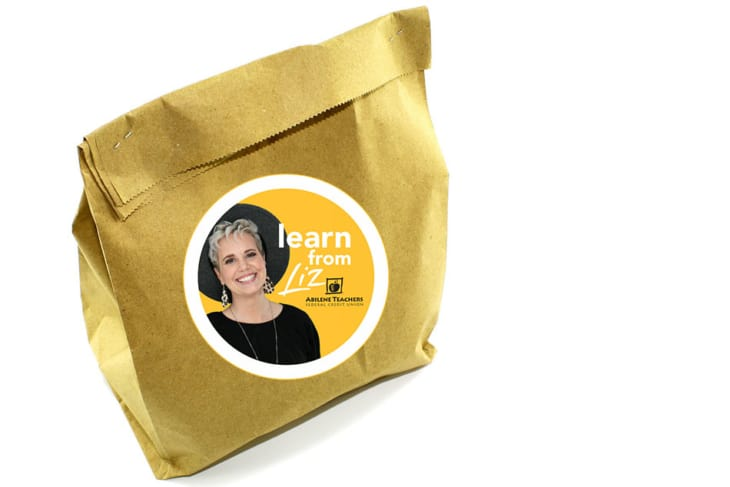 brown bag with photo of Learn from Liz