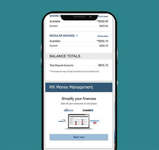 screen shot of check deposit