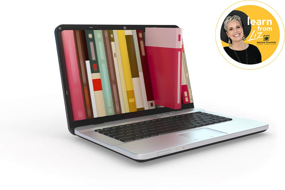 laptop with books with overlay of learn from liz