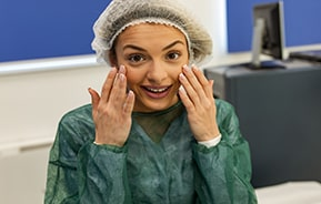 woman preparing for eye surgery
