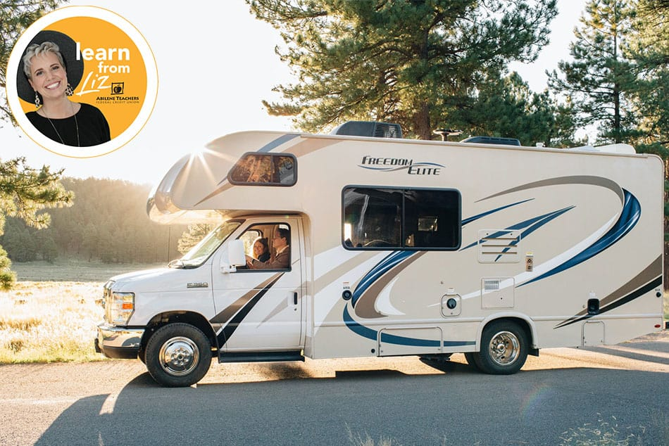 family driving RV down road