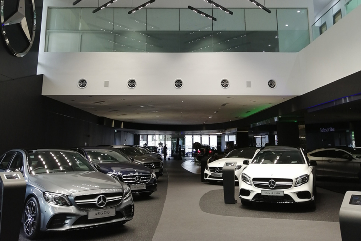 Luxury cars at dealership