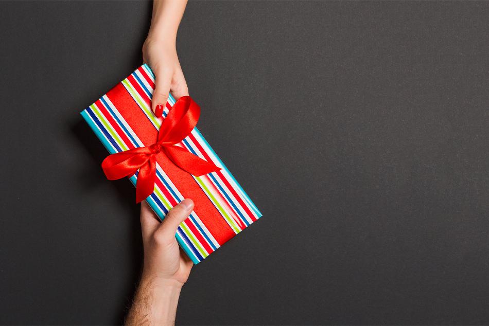 Present being exchanged between hands