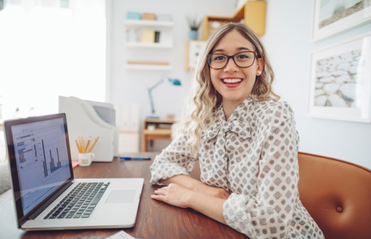 Woman pleased with computer results