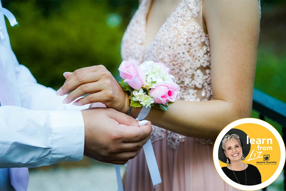 boy putting wrist corsage on girl with overlay pic of learn with Liz pic