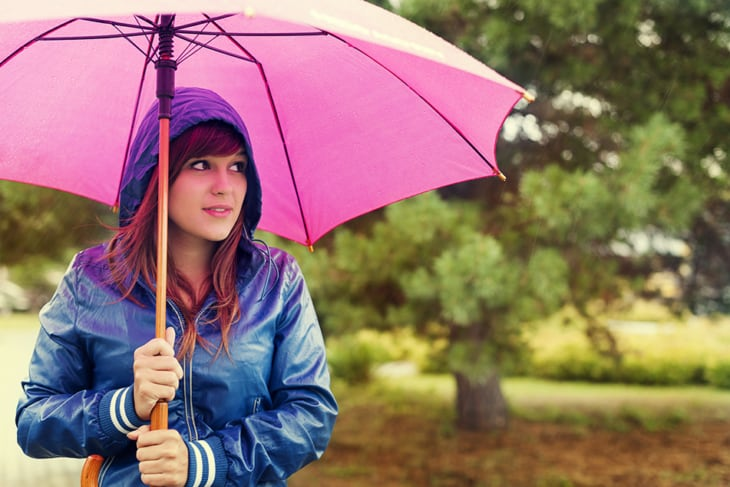 Walking through the rain with an umbrella