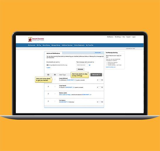 online banking alerts screen shot