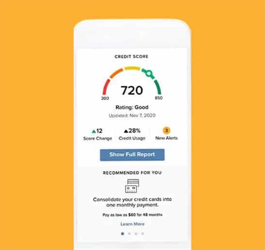 mobile screen shot of credit score