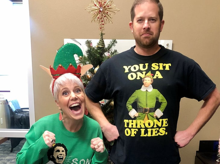 two people dressed as The Elf