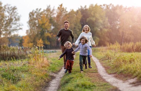family exploring path
