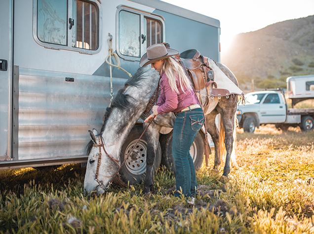 horse rider near trailer