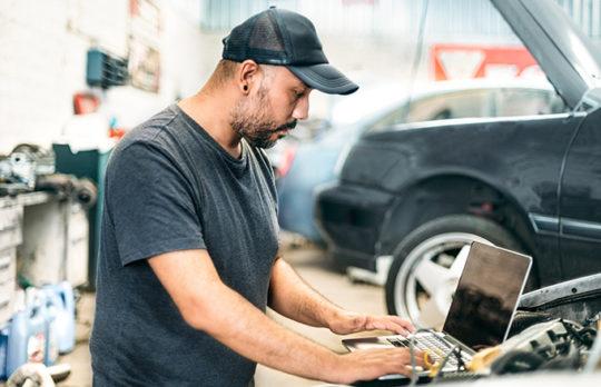 mechanic testing car
