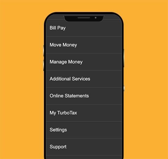 screen shot of bill payment on app