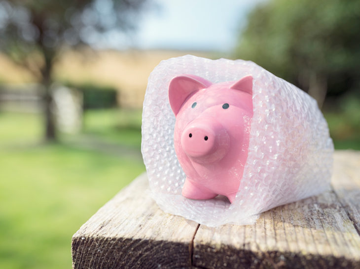 piggy bank wrapped in bubble wrap