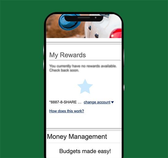 mobile app screen shot of purchase rewards