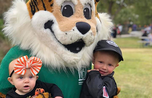 tiger mascot-and-two-young-children